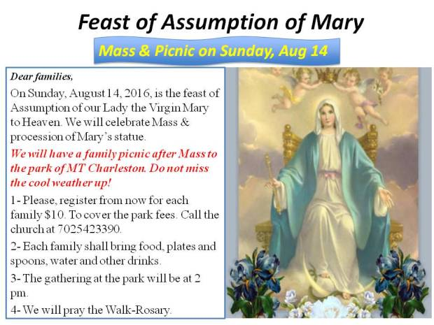 Mass and picnic Aug 14