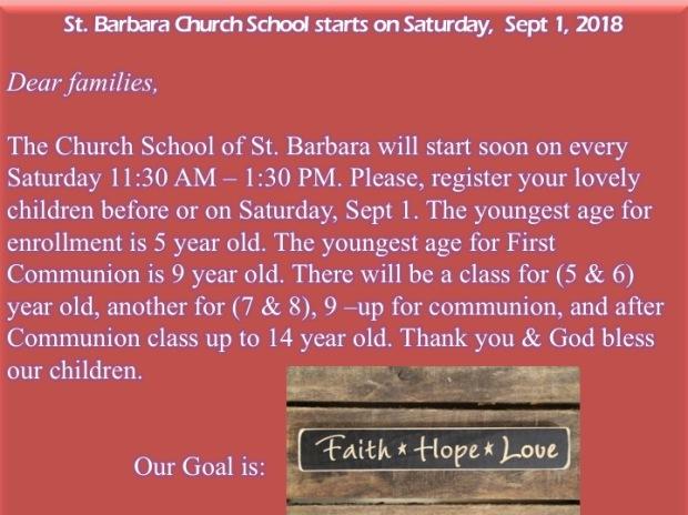 Church School 2018-2019